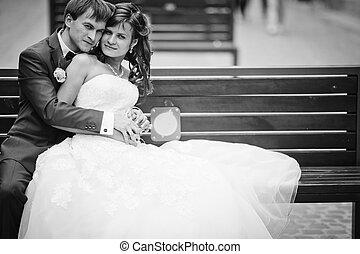 bâtiment, vieux, mariée, palefrenier, banc, élégant, fond, magnifique, séance, lviv, heureux