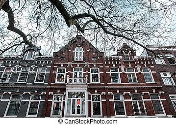 bâtiment, vieux, rotterdam, façade, belgium., deux-histoire