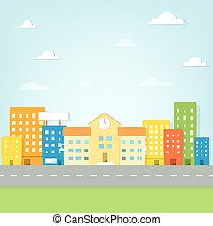 bâtiment, ville, école