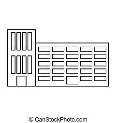 bâtiment, ville, école, figure, autocollant, ligne
