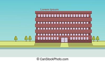 bâtiment, ville, école, propriété, vue extérieure