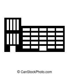bâtiment, ville, école, silhouette, autocollant, ligne