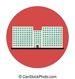 bâtiment, ville, école, symbole, ligne, autocollant