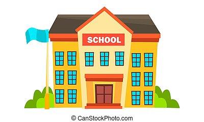 bâtiment, ville, école, university., plat, fasade, moderne, isolé, illustration, exterior., brick., vector., dessin animé