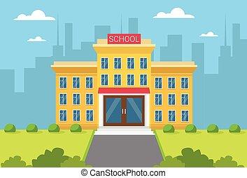 bâtiment, ville, école, vue extérieure
