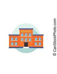 bâtiment, ville, école, yard., devant, construction., icône