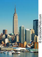 bâtiment, ville, état, york, nouveau, empire