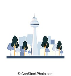 bâtiment, ville, arbres, rue, gratte-ciel, dehors