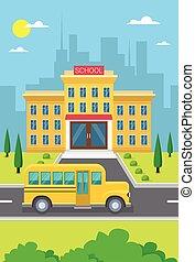 bâtiment, ville, autobus école, jaune, vue extérieure