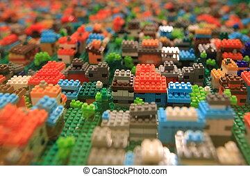 bâtiment, ville, blocs, jouets