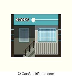 bâtiment, ville, bureau, moderne, commercial, illustration, façade, vecteur, ou
