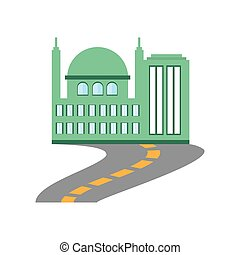 bâtiment, ville, commercial, route