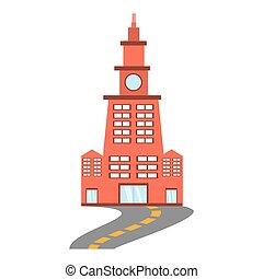 bâtiment, ville, contemporain, route
