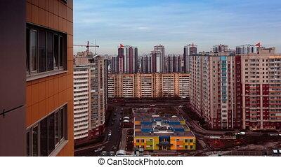 bâtiment, ville, défaillance, monter, élevé, milieu, vue, temps, day., video., mouvement