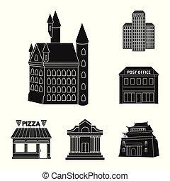 bâtiment, ville, ensemble, business, symbole, web., illustration, vecteur, icon., stockage