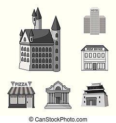 bâtiment, ville, ensemble, illustration., business, objet, isolé, vecteur, icon., stockage