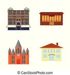 bâtiment, ville, ensemble, illustration., business, signe., objet, isolé, vecteur, stockage