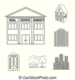 bâtiment, ville, ensemble, illustration., business, vecteur, conception, icon., stockage