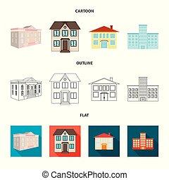 bâtiment, ville, ensemble, illustration., moderne, isolé, objet, symbole., vecteur, stockage