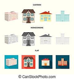 bâtiment, ville, ensemble, illustration., signe., moderne, vecteur, conception, stockage