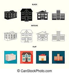 bâtiment, ville, ensemble, stock., moderne, illustration, vecteur, logo., icône