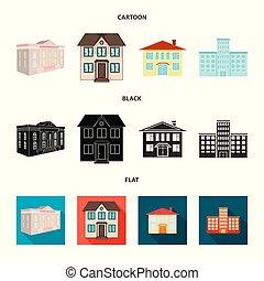 bâtiment, ville, ensemble, stock., moderne, isolé, objet, vecteur, logo., icône