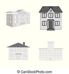 bâtiment, ville, ensemble, symbole, moderne, web., vecteur, conception, icon., stockage