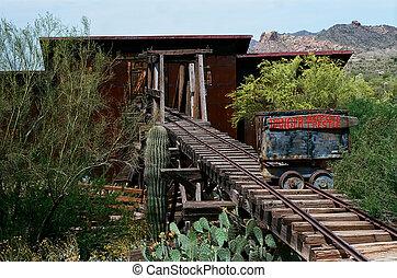 bâtiment, ville, exploitation minière, vieux, abandonnés, rustique