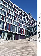 bâtiment, ville, façade, moderne, bureau