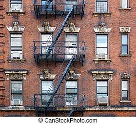 bâtiment, ville, façade, york, nouveau