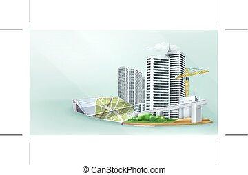 bâtiment, ville, fond