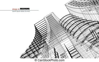 bâtiment, ville, graphique, fil, building.perspective, wiev, render, large, résumé, angle., idée, vecteur, design.modern, urbanistic, construction, gabarit, skyscraper., cadre, structure., 3d