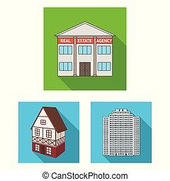 bâtiment, ville, illustration., business, objet, isolé, collection, vecteur, icon., stockage