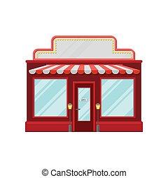 bâtiment, ville, illustration, façade, rouges, vecteur, retro, devant, dessin animé, magasin, vue