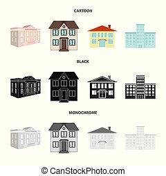 bâtiment, ville, illustration., moderne, symbole., collection, vecteur, conception, stockage