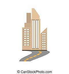 bâtiment, ville, immobiliers, route