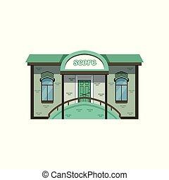 bâtiment, ville, moderne, illustration, petit, vecteur, façade