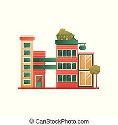 bâtiment, ville, moderne, illustration, vecteur, fond, façade, brique, blanc