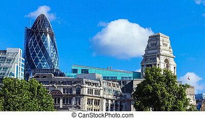 bâtiment, ville, nuages, sur, marie, axe), (30, londres, flotter, rue, cornichon