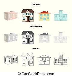 bâtiment, ville, objet, illustration., moderne, isolé, collection, symbole., vecteur, stockage