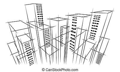 bâtiment, ville, oeil, contour, business, moderne, scraper ciel, main, horizon, architecte, fond, dessiné, oiseau, paysage, vue