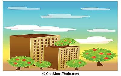 bâtiment, ville, paysage