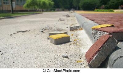bâtiment, ville, pierre, coloré, processus, parc, site, construction, pavage, route
