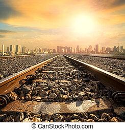 bâtiment, ville, piste, perspective, en avant!, ferroviaire