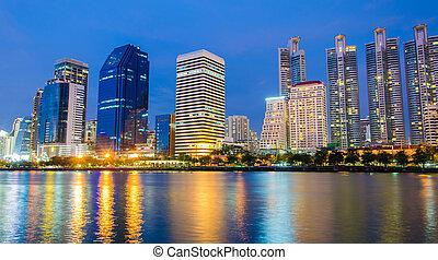 bâtiment, ville, reflet, en ville, nuit, interdiction, rivière