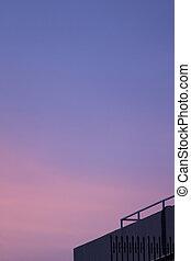 bâtiment, ville, silhouette, crépuscule, ciel, toit, coucher soleil