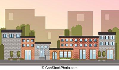 bâtiment, ville, silhouette, maisons, ville, horizon, fond, vue