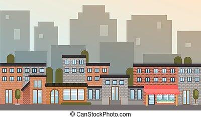 bâtiment, ville, silhouette, maisons, ville, horizon, fond, ...