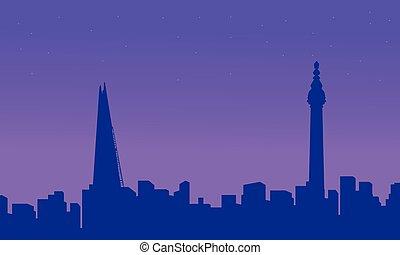 bâtiment, ville, silhouettes, londres, paysage