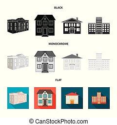 bâtiment, ville, stock., moderne, symbole., collection, vecteur, conception, icône